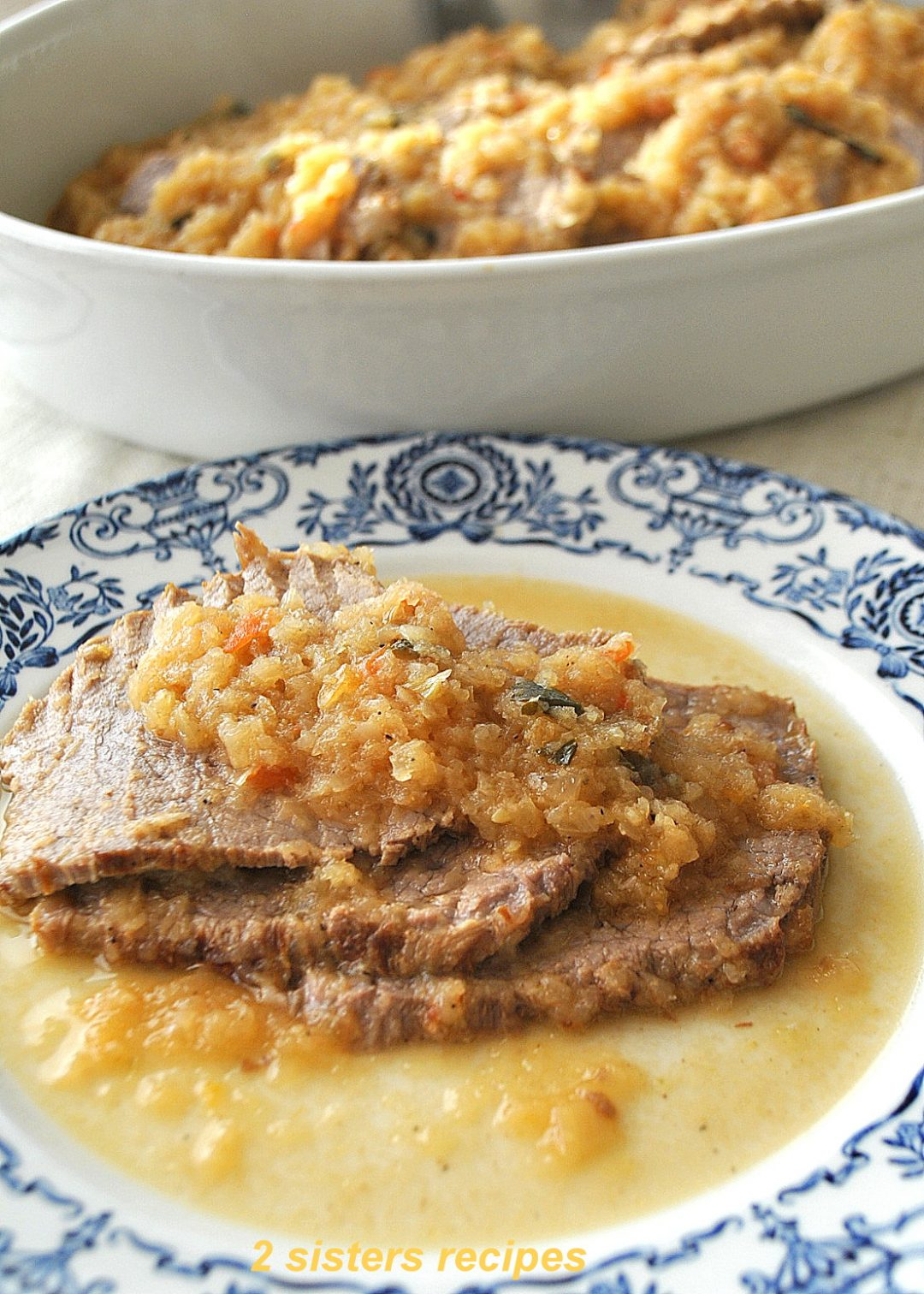 Eye Round Roast with Onions by 2sistersrecipes.com