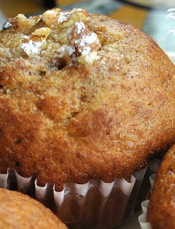 Low-Fat Banana Walnut Muffins by 2sistersrecipes.com