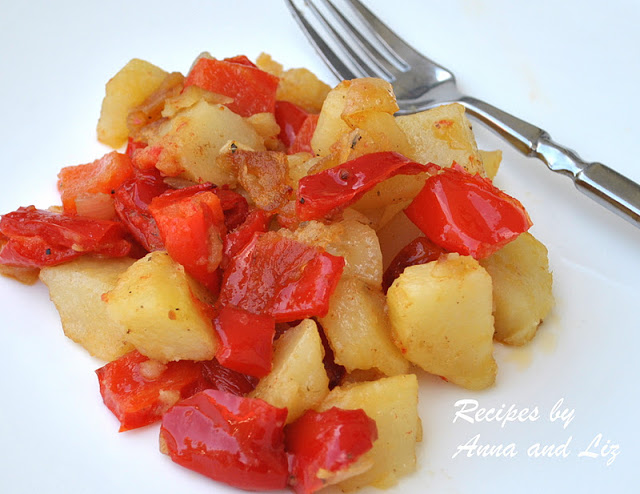 Roasted Potatoes and Sweet Red Peppers by 2sistersrecipes.com