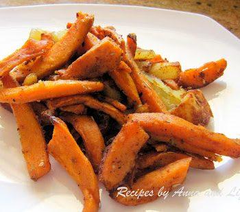Oven Baked Idaho and Sweet Potato-Cut Fries by 2sistersrecipes.com