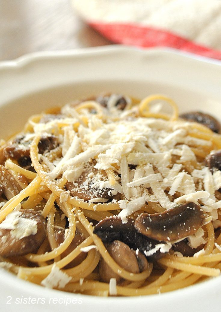 Spaghetti with Wild Mushrooms, Cognac and Truffle Oil by 2sistersrecipes.com