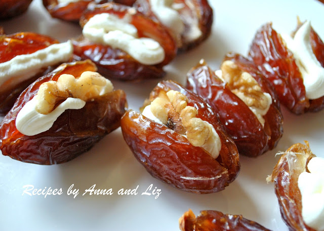 Dried Dates Filled with Mascarpone and Walnuts by 2sistersrecipes.com