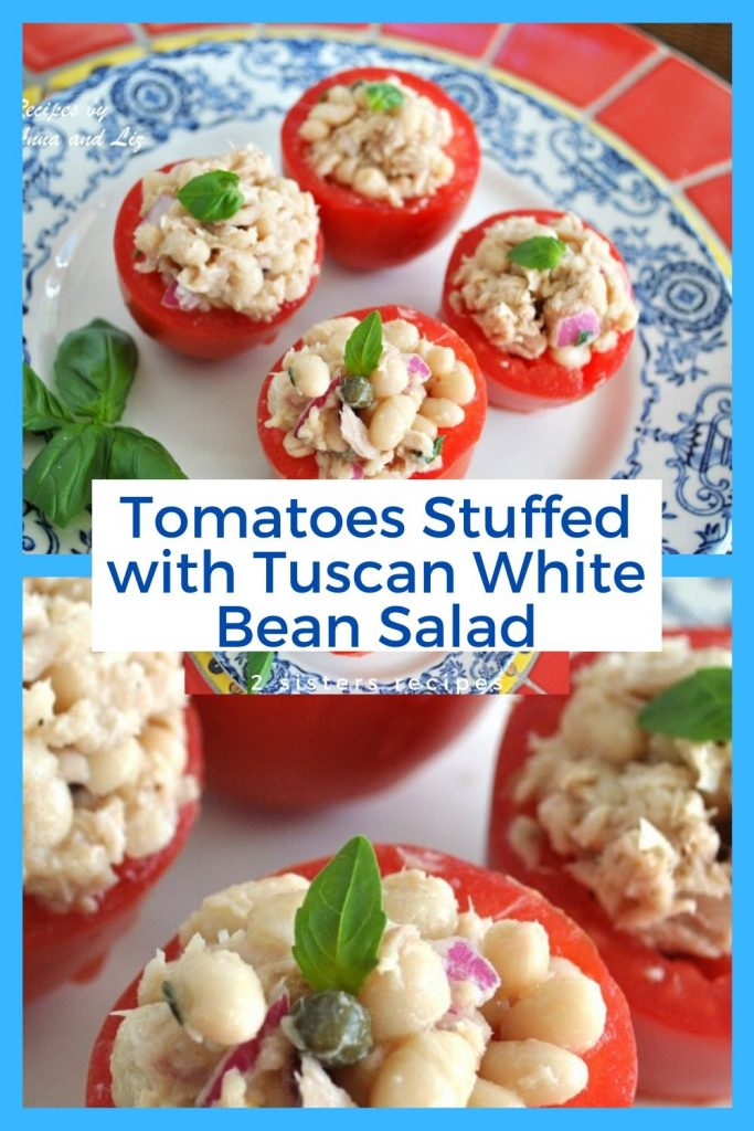 Tomatoes Stuffed with Tuscan White Bean Salad. by 2sistersrecipes.com
