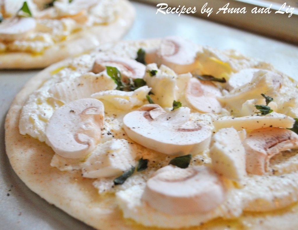 White Pita Pizza with Mushrooms Ricotta and Herbs by 2sistersrecipes.com