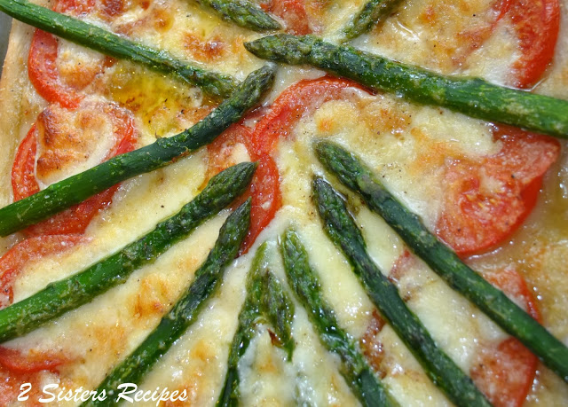 Fresh AsparagusTomato and Cheese Pizza by 2sistersrecipes.com
