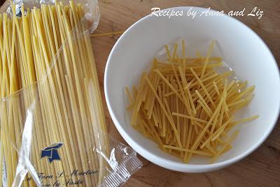 Broken spaghetti for the squash sauce. by 2sistersrecipes.com