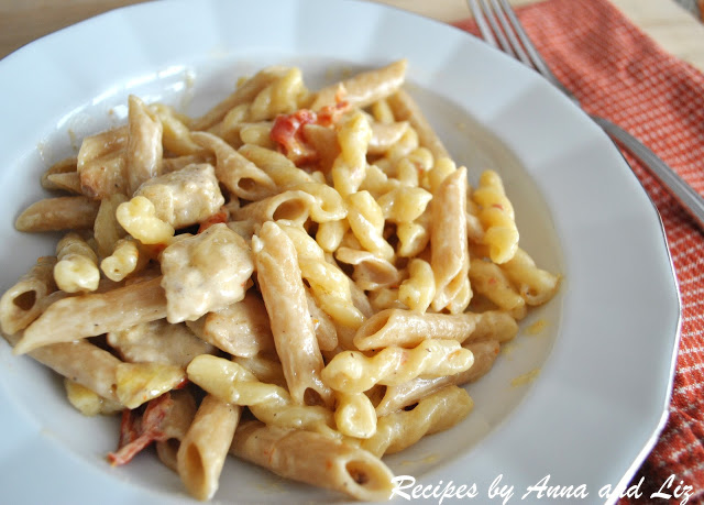 Pasta with Chicken Sun-Dried Tomatoes in a Creamy Wine Sauce.by 2sistersrecipes.com