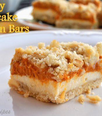 Crumbly Cheesecake Pumpkin Bars, by 2sistersrecipes.com