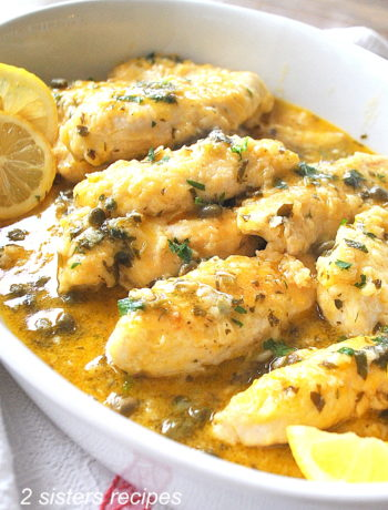 Chicken Tenders Smothered in Lemon and Parsley by 2sistersrecipes.com
