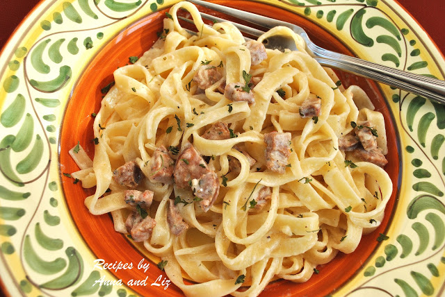 Classic Fettuccine Alfredo with Sausage by 2sistersrecipes.com