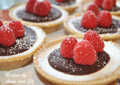 Mini Panna Cotta Tarts with Lingonberries and Chocolate by 2sistersrecipes.com