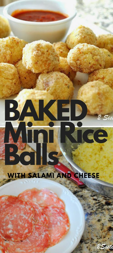 Baked Mini Rice Balls Stuffed with Salami and Cheese by 2sistersrecipes.com