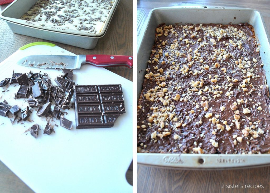 chopped chocolate pieces on a white cutting board. by 2sistersrecipes.com