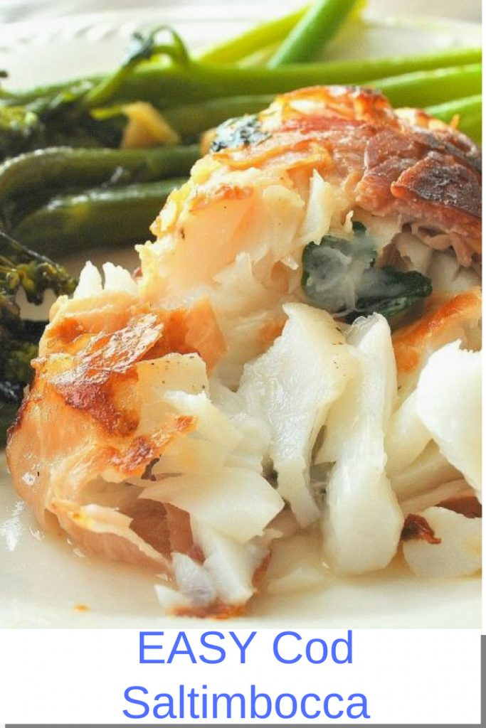 EASY Cod Saltimbocca by 2sistersrecipes.com