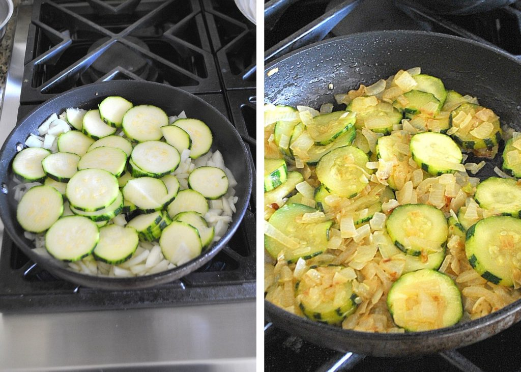 Zucchini in a skillet by 2sistersrecipes.com