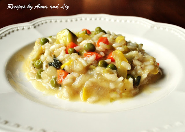 Spring Risotto with Vegetables by 2sistersrecipes.com