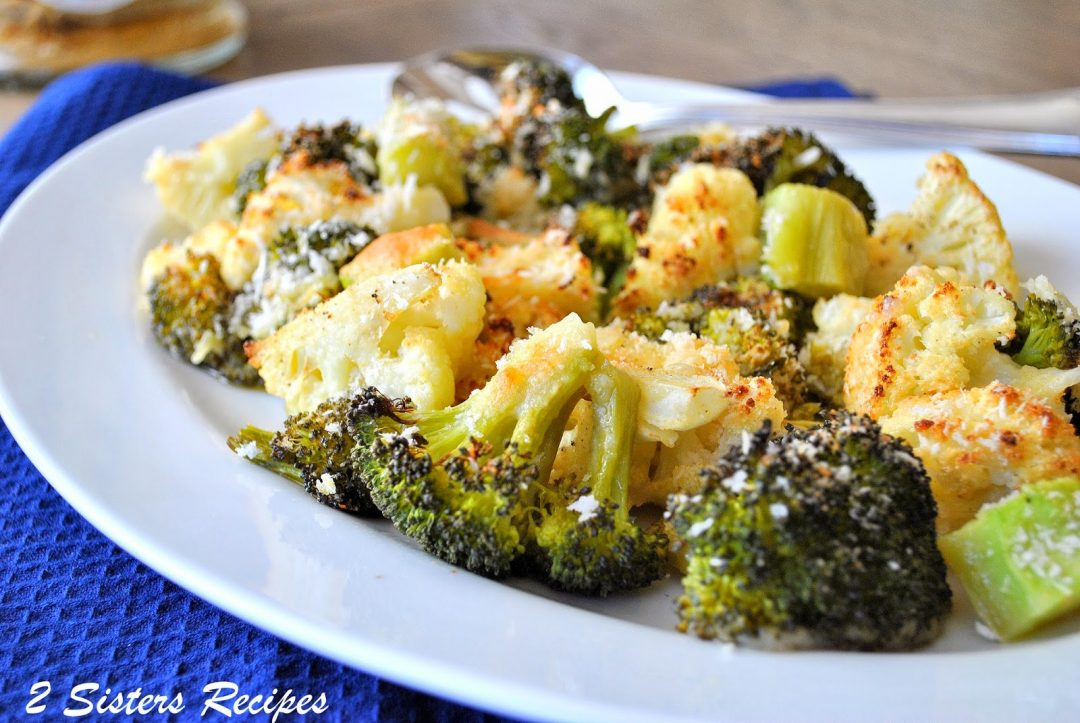 Roasted Broccoli and Cauliflower with Wine and Cheese by 2sistersrecipes.com