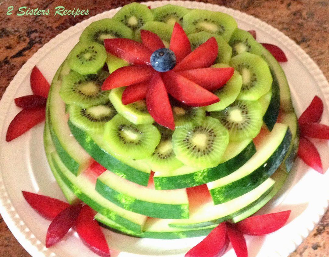 Watermelon, Kiwi and Plum Cake by 2sistersrecipes.com