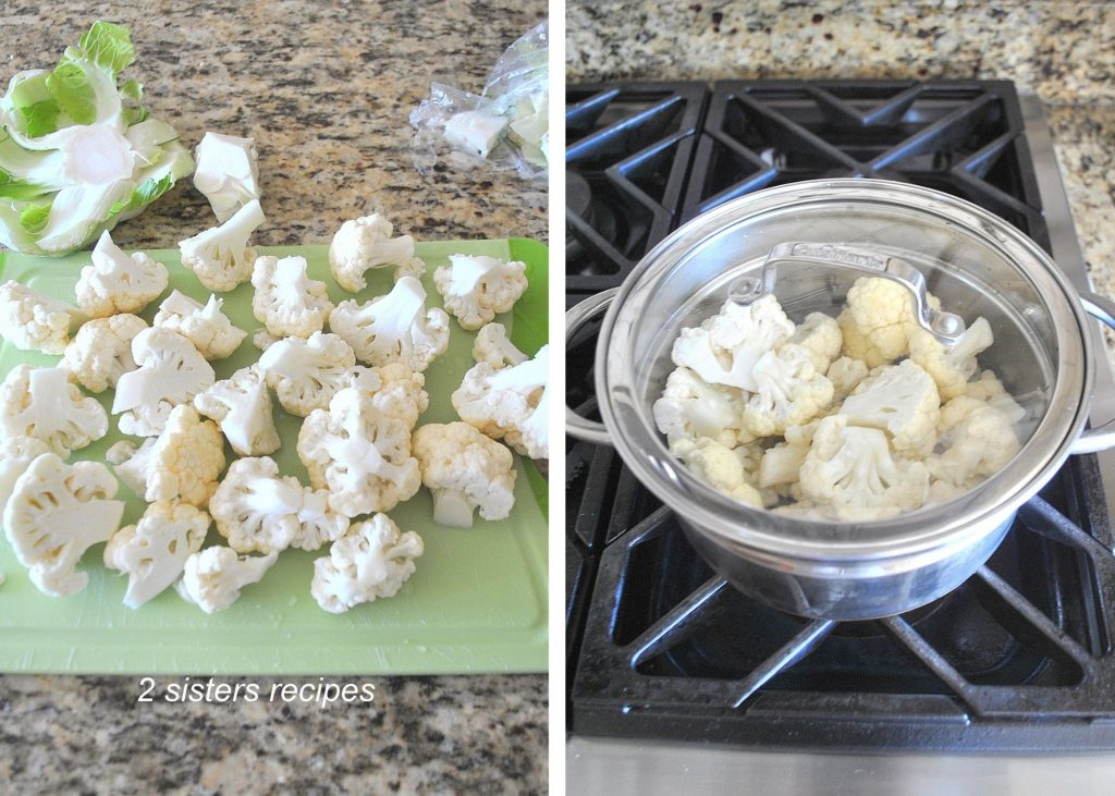Chopped cauliflower on a cutting board and placed into a pot. by 2sistersrecipes.com