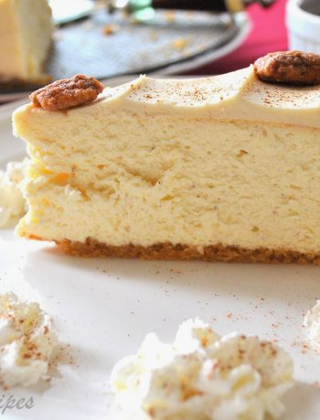 Eggnog Cheesecake with Candied Pecans by 2sistersrecipes.com