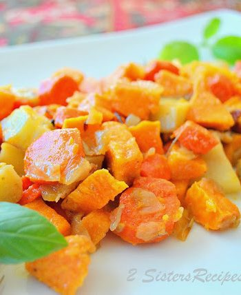 Oven-Roasted Sweet Potatoes, Butternut Squash, Carrots with Olive Oil and Pancetta by 2sistersrecipes.com