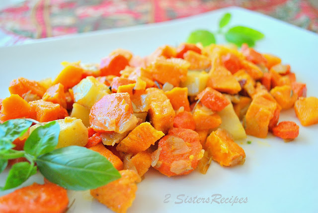Oven-Roasted Sweet Potatoes Butternut Squash Carrots with Olive Oil and Pancetta by 2sistersrecipes.com