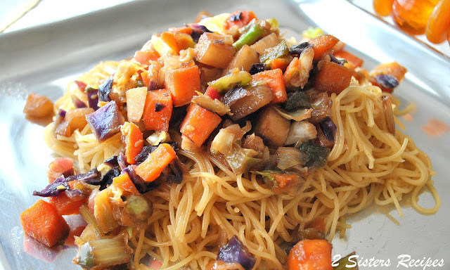Asian-Style Capellini Pasta with Vegetables by 2sistersrecipes.com