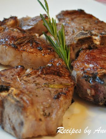 Grilled Lamb Chops with Garlic, Lemon, Wine and Herbs by 2sistersrecipes.com