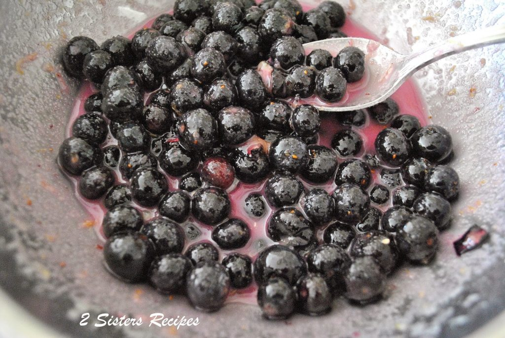 A silver bowl filled with fresh blueberries and sugar. by 2sistersrecipes.com