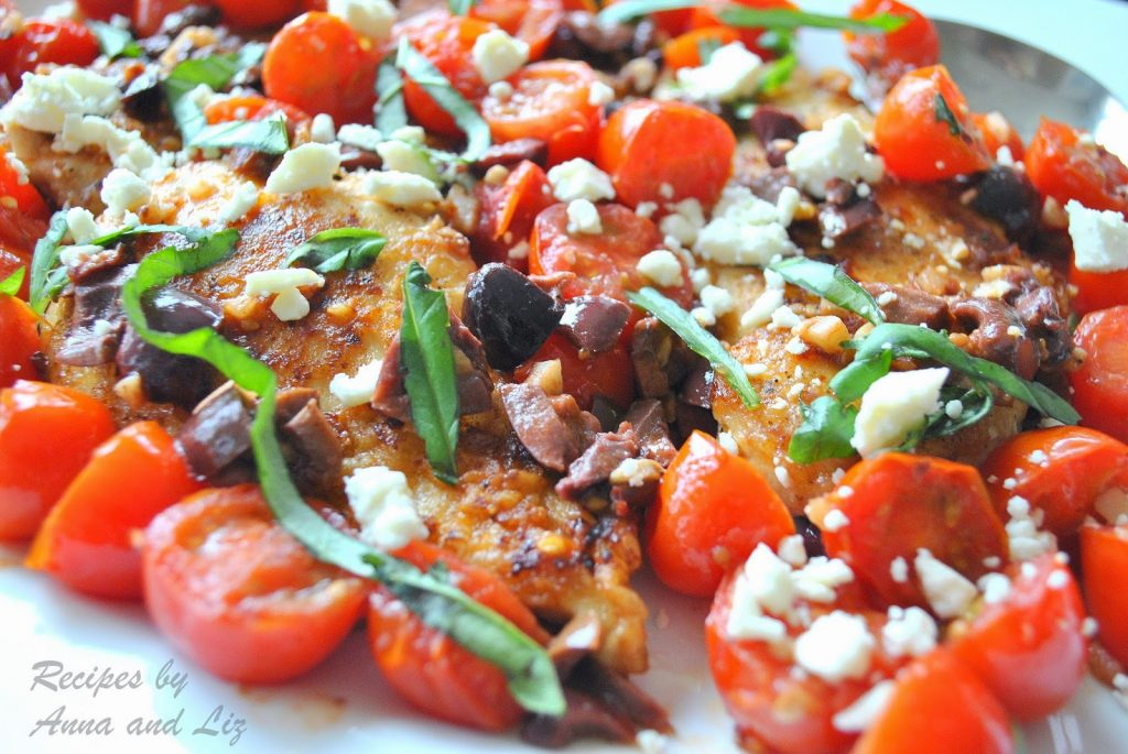 Sautéed Chicken Cutlets with Cherry Tomatoes, Olives, Feta and Basil