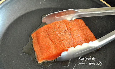 One salmon in a skillet to grill. by 2sistersrecipes.com
