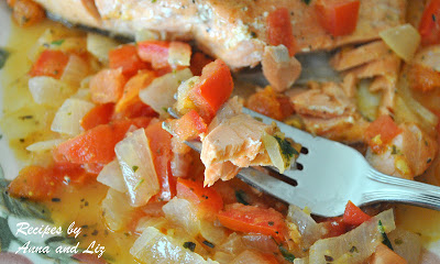 Pan-Seared Salmon with Zesty Tomato-Onion Relish by 2sistersrecipes.com