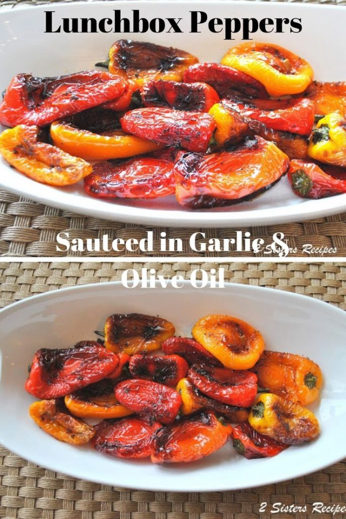 Lunchbox Peppers Sauteed with Garlic and Olive Oil by 2sistersecipes.com