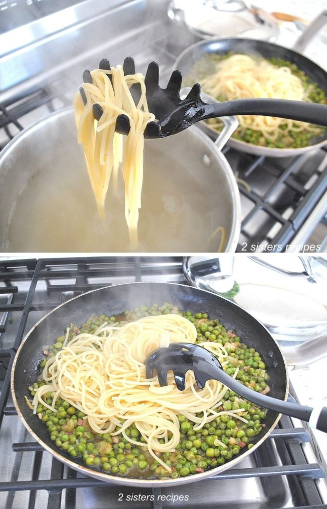 Spaghetti is transferred to the skillet with the peas mixture. by 2sistersrecipes.com