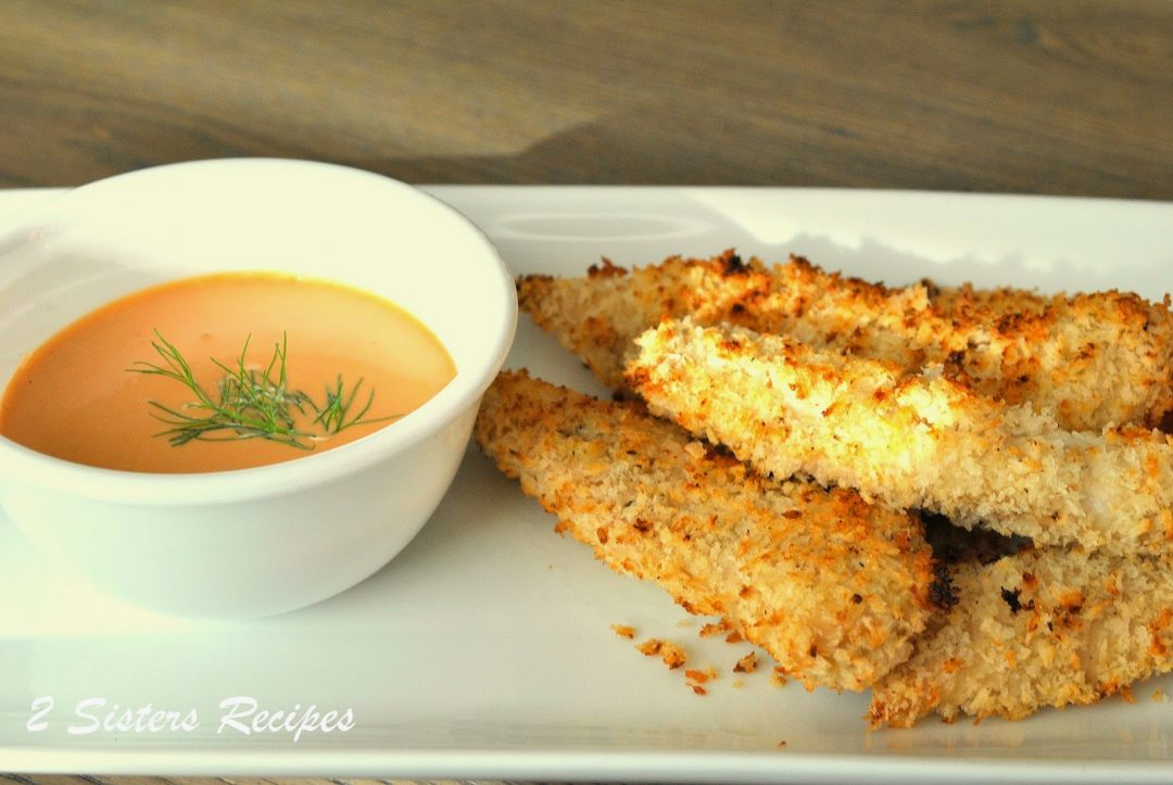 Oven-Fried Chicken Fingers by 2sistersrecipes.com