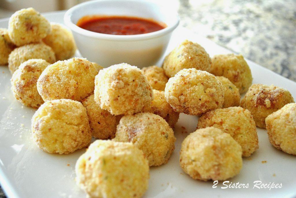 Baked Mini Rice Balls Stuffed with Soppressata by 2sistersrecipes.com
