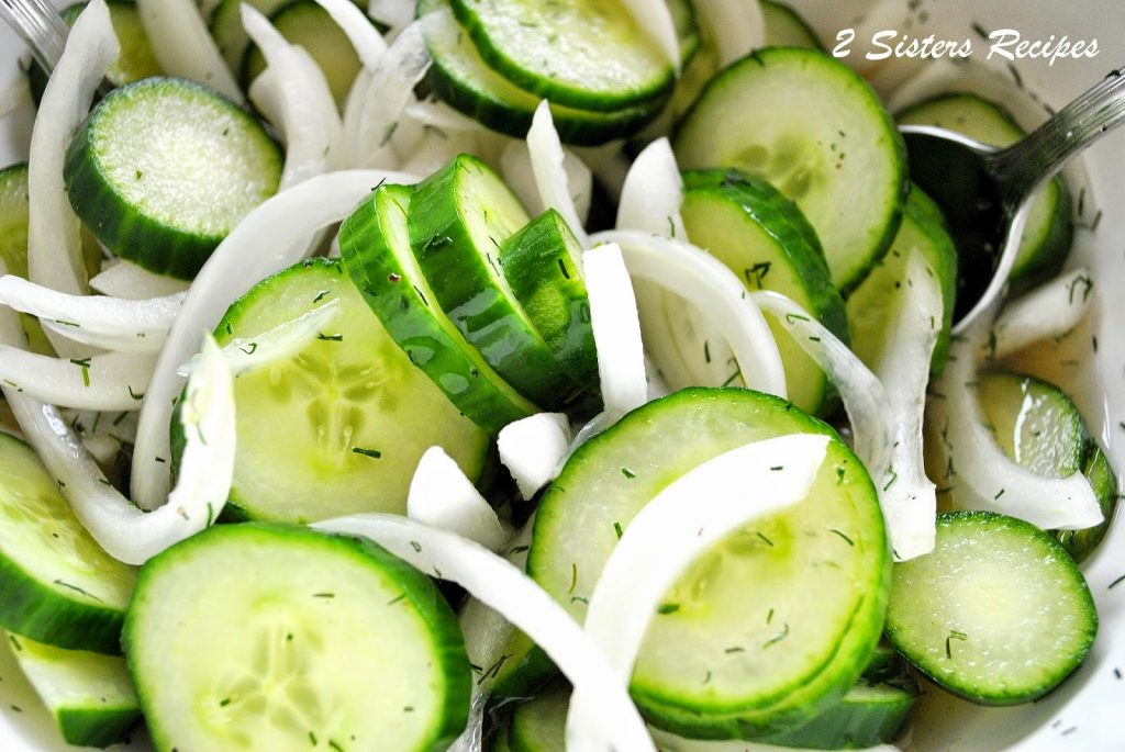 Cucumbers and Vidalia Onion Salad by 2sistersrecipes.com