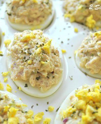 Wasabi Tuna Deviled Eggs by 2sistersrecipes.com