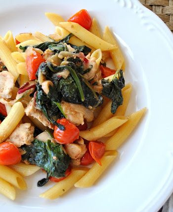 Penne Tossed with Sauteed Chicken Kale and Cherry Tomatoes by 2sistersrecipes.com