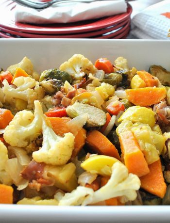 Roasted Sweet Potatoes, Yellow Squash, BrusselsSprouts, Cauliflower with Italian Ham by 2sistersrecipes.com