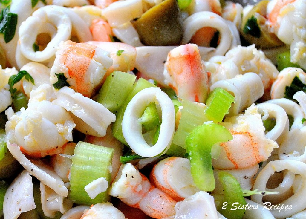 Seafood Salad Marinated for Christmas Eve. by 2sistersrecipes.com