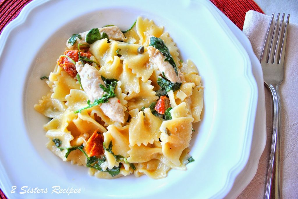 photo of pasta with Chicken Capers Sundried Tomatoes and Spinach. by 2sistersrecipes.com