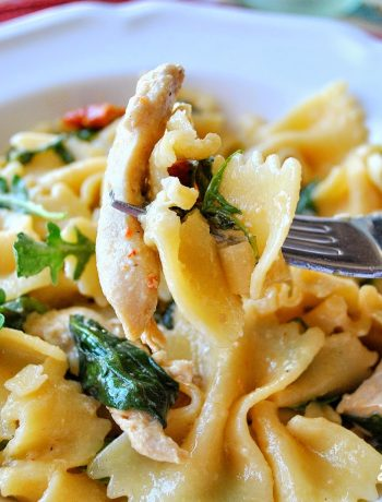 Farfalle with Chicken Caper Sundried Tomatoes and Spinach by 2sistersrecipes.com