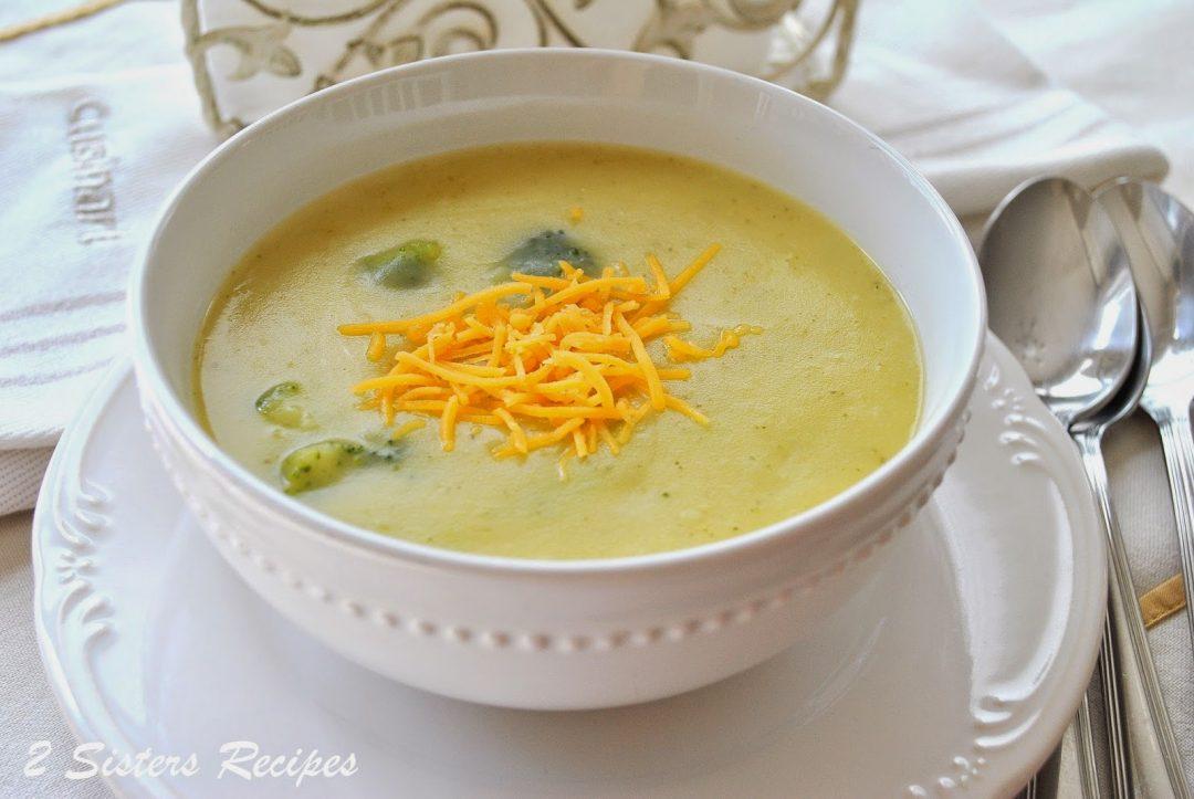 Potato Broccoli and Cheddar Soup by 2sistersrecipes.com