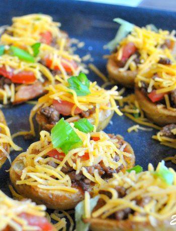 Potato Skin Bites as Nachos by 2sistersrecipes.com