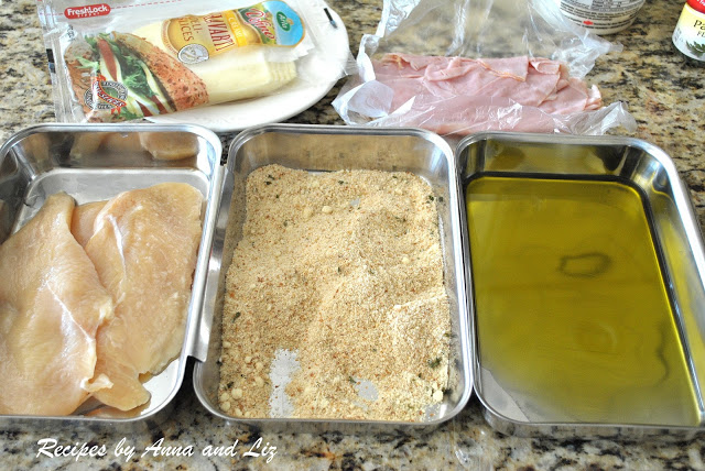 3 breading pans with the ingredients to prep the chicken cutlets. by 2sistersrecipes.com