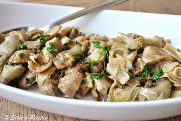 Artichoke Hearts Steamed with Olives, Capers and Garlic