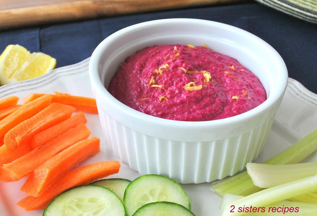 Healthy Beet Hummus by 2sistersrecipes.com
