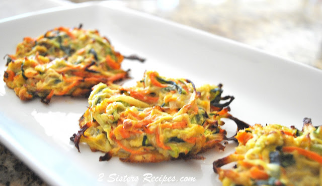 Three vegetable bird's nests on a serving platter. by 2sistersrecipes.com