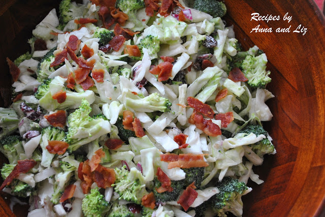 Crunchy Broccoli Raisins Walnut Salad, by 2sistersrecipes.com